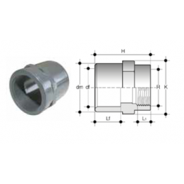 Manicotto 2 diametri filetto femmina/incollaggio pvc alta pressione